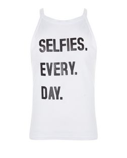 Teens White Selfies Everyday Print Cami | New Look