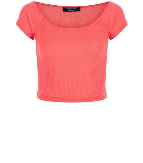 Teens Bright Pink Bardot Neck Top | New Look
