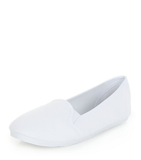 White Slip On Plimsolls  | New Look