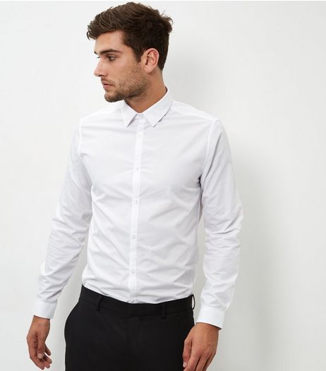 White Poplin Long Sleeve Shirt | New Look
