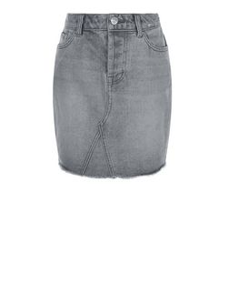 Teens Grey Fray Hem Denim Skirt | New Look