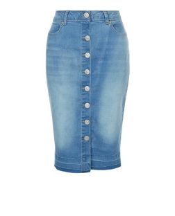 Parisian Blue Button Front Denim Skirt | New Look