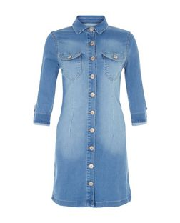Parisian Blue Denim Shirt Dress | New Look