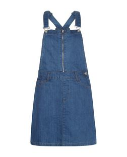 Parisian Blue Zip Front Denim Pinafore Dress  | New Look