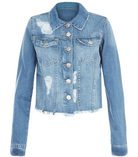 Parisian Blue Fray Hem Denim Jacket | New Look