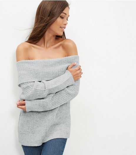 Pale Grey Fold Over Bardot Neck Jumper | New Look