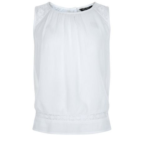 Girls White Lace Panel Shell Top | New Look