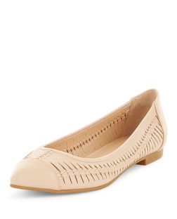 Nude Woven Pointed Pumps  | New Look