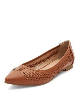 Tan Woven Pointed Pumps  | New Look