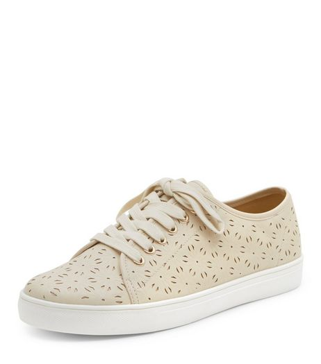 Cream Laser Cut Out Lace Up Plimsolls  | New Look