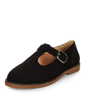 Mocassini  donna Black Suedette T-Bar Strap Shoes