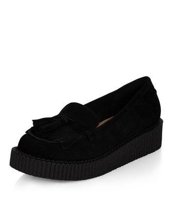 Mocassini  donna Black Tassel Front Creeper Loafers