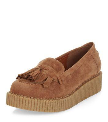 Mocassini  donna Tan Tassel Front Creeper Loafers