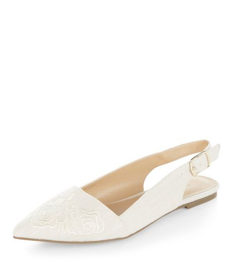 Cream Embroidered Rose Pointed Sling Back Pumps  | New Look
