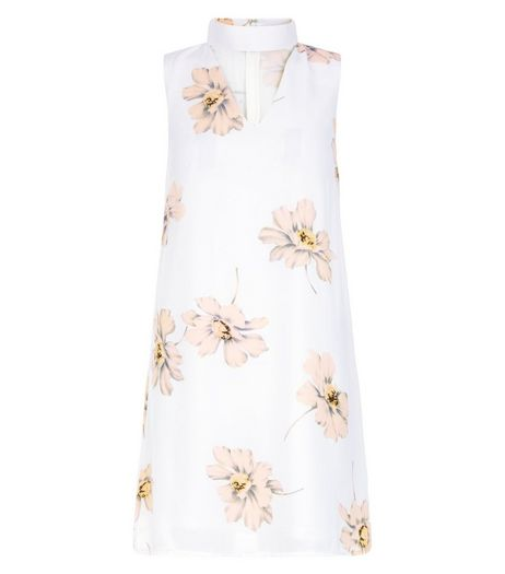 Parisian White Floral Print Cut Out Front Dress | New Look
