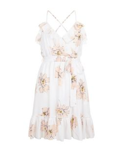 Parisian White Floral Print Frill Wrap Dress | New Look