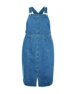 Curves Blue Fray Hem Denim Pinafore Dress | New Look