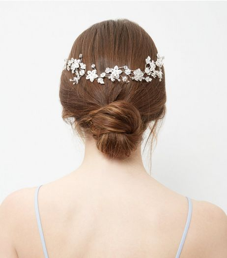 Crystal Wire Flower Hair Slide  | New Look