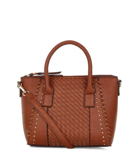 Tan Woven Panel Mini Tote Bag | New Look