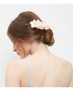 Pink Oversized Floral Curved Hair Slide | New Look