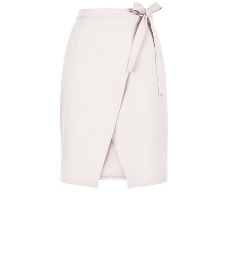 Shell Pink Tie Wrap Front Skirt  | New Look
