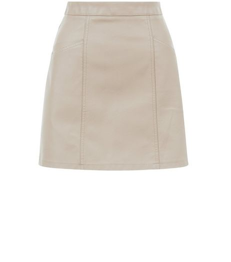 Stone Leather-Look Seam Trim Mini Skirt  | New Look