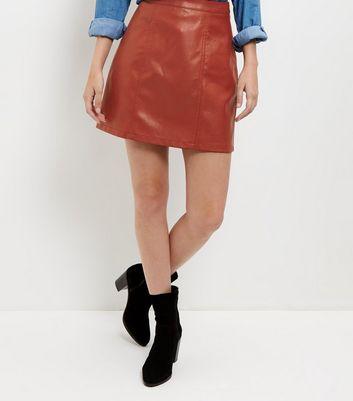 Gonna  donna Tan Leather-Look Seam Trim Mini Skirt