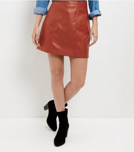 Tan Leather-Look Seam Trim Mini Skirt  | New Look