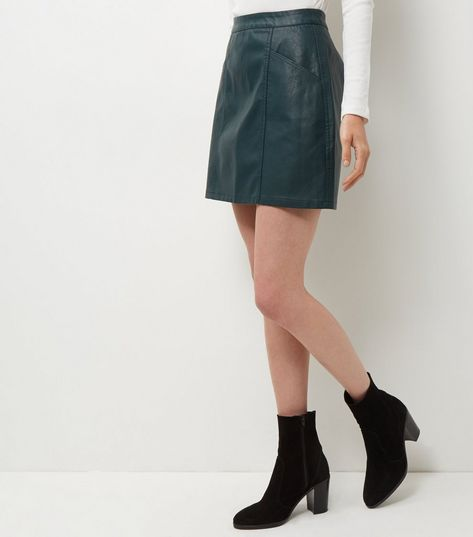 Dark Green Leather-Look Seam Trim Mini Skirt