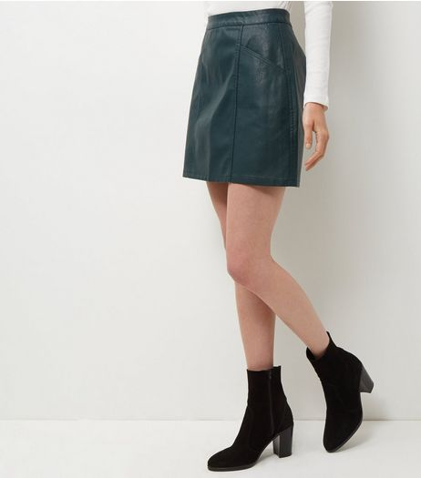 Dark Green Leather-Look Seam Trim Mini Skirt  | New Look