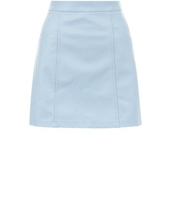 Gonna  donna Pale Blue Leather-Look Seam Trim Mini Skirt