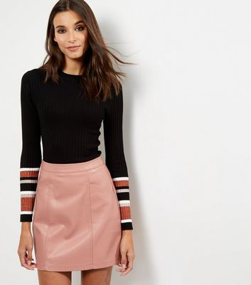 Gonna  donna Shell Pink Leather-Look Seam Trim Mini Skirt