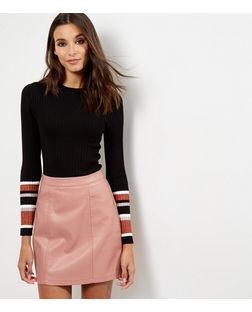 Shell Pink Leather-Look Seam Trim Mini Skirt  | New Look