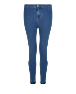 Blue Drop Hem High Waisted Super Skinny Jeans | New Look
