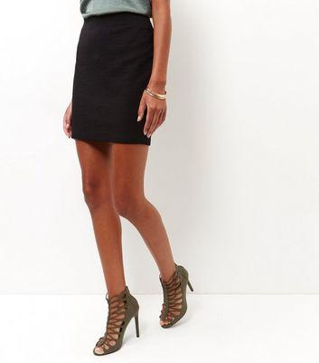 Gonna  donna Black Textured Mini Skirt