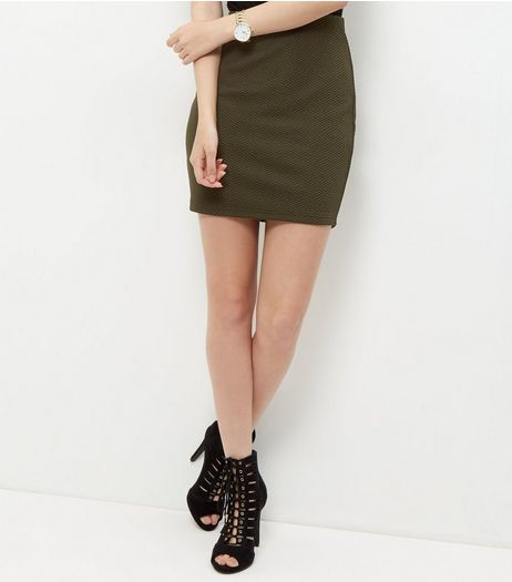 Khaki Textured Mini Skirt  | New Look