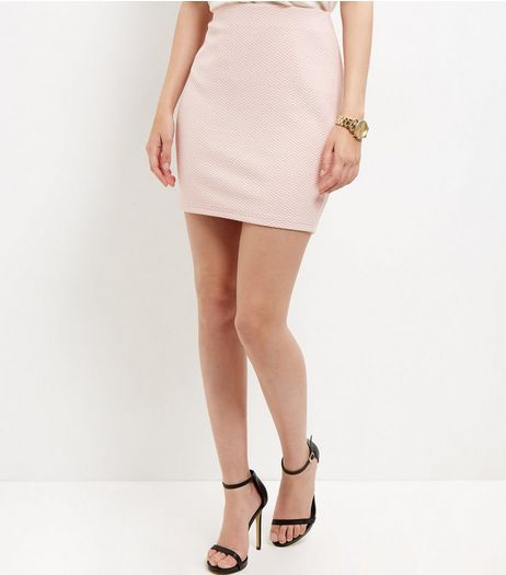 Shell Pink Textured Mini Skirt  | New Look