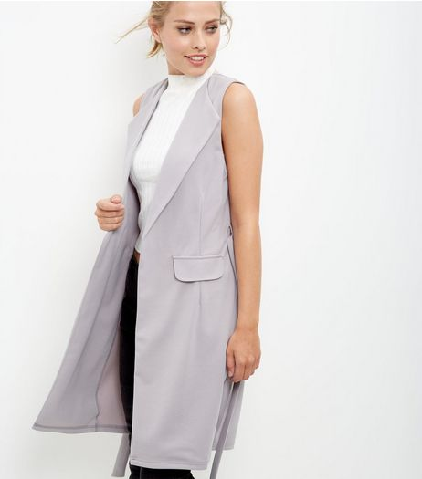 Grey Crepe Tie Waist Sleeveless Blazer  | New Look