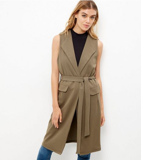 Khaki Crepe Tie Waist Sleeveless Blazer  | New Look