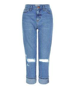 Blue Ripped Knee Turn Up Straight Leg Jeans  | New Look