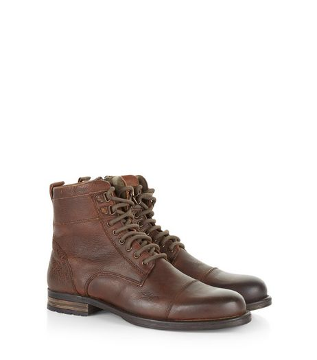 Dark Brown Leather Lace Up Military Boots | New Look