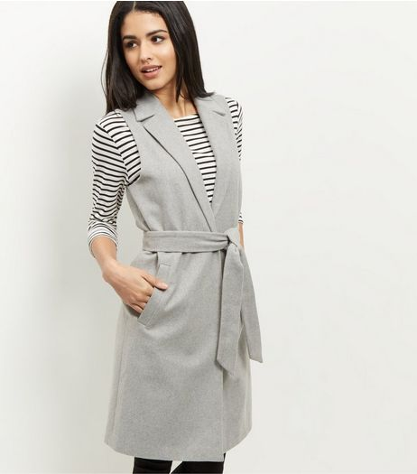 Grey Tie Waist Sleeveless Blazer  | New Look