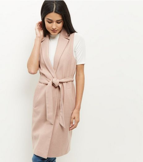 Shell Pink Tie Waist Sleeveless Blazer  | New Look