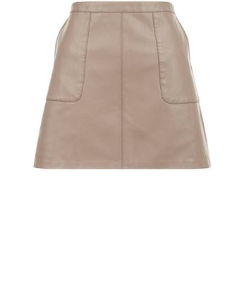 Gonna  donna Petite Pale Grey Leather-Look A-Line Skirt