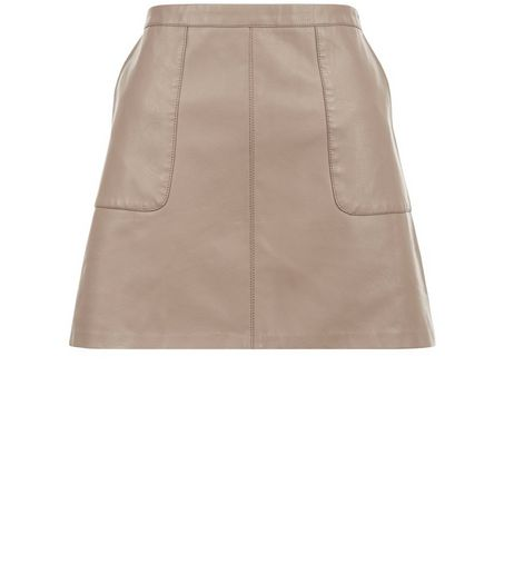 Petite Pale Grey Leather-Look A-Line Skirt | New Look