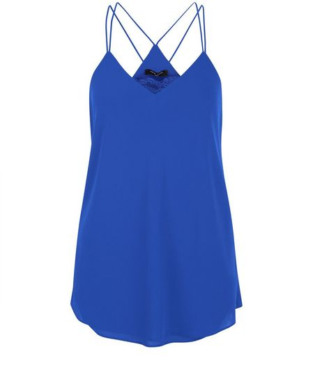 Tall Blue Lace Panel Cami | New Look
