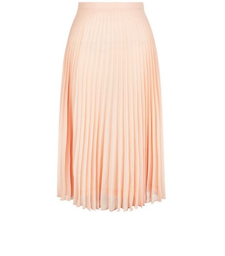 Petite Shell Pink Pleated Midi Skirt | New Look