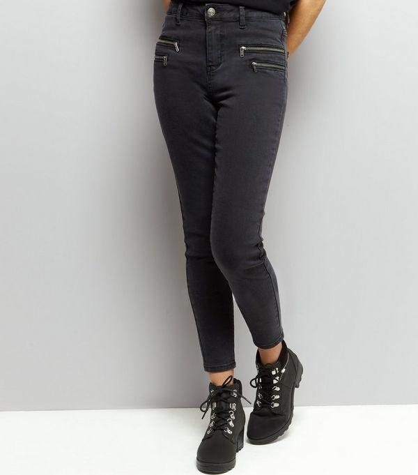 Black Zip Front Skinny Jeans