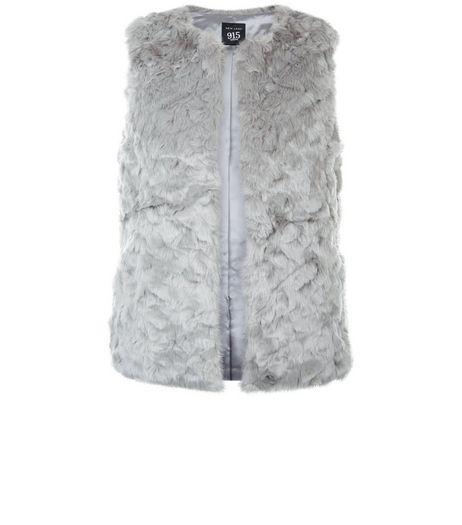 Teens Grey Faux Fur Gilet  | New Look