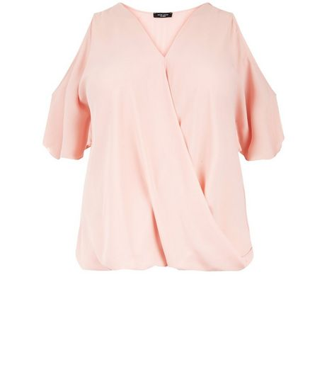 Curves Shell Pink Wrap Cold Shoulder Top  | New Look